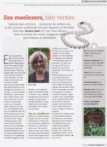 Karine Jekel in Schrijven Magazine