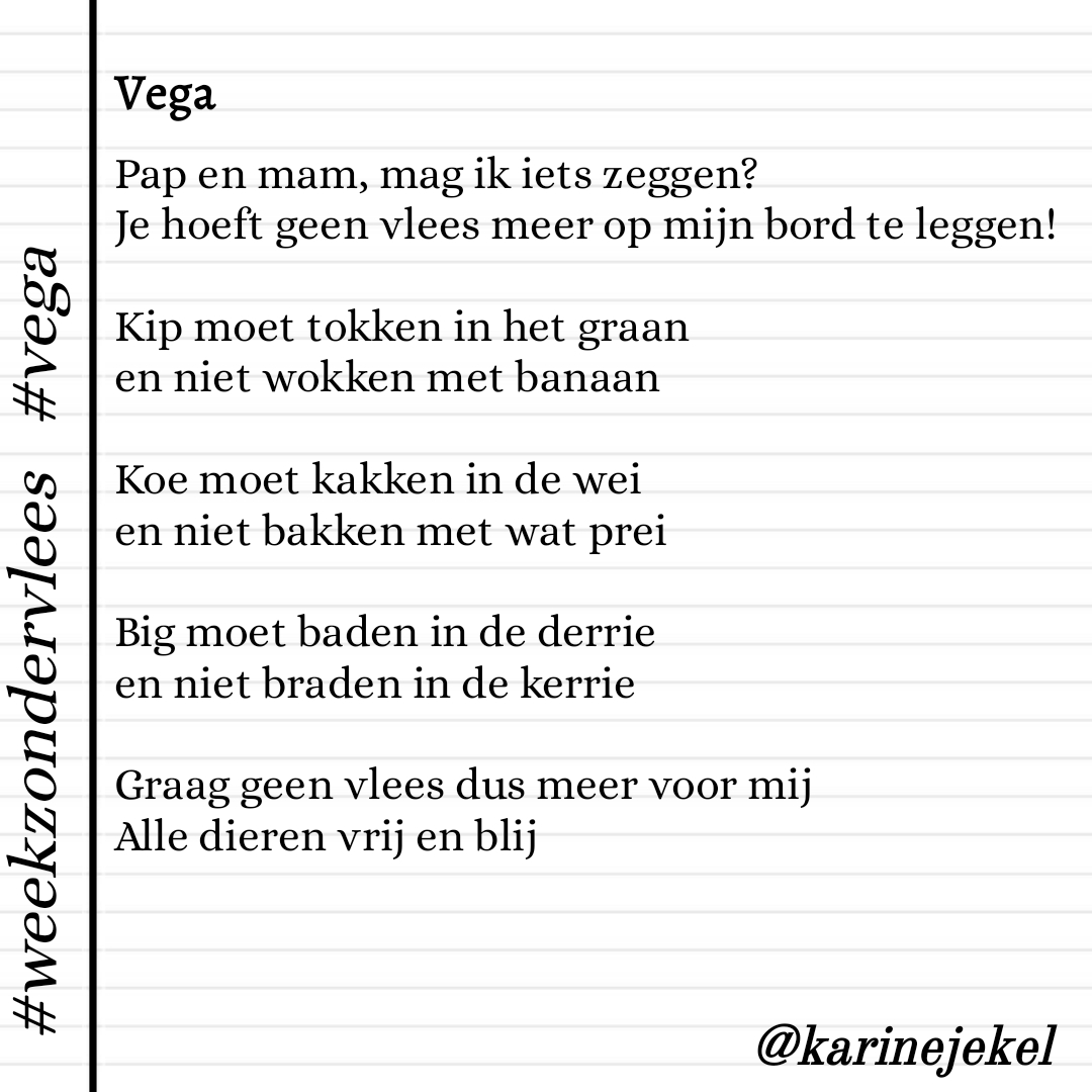 gedicht karinedicht vega vegetarisch vegetariër