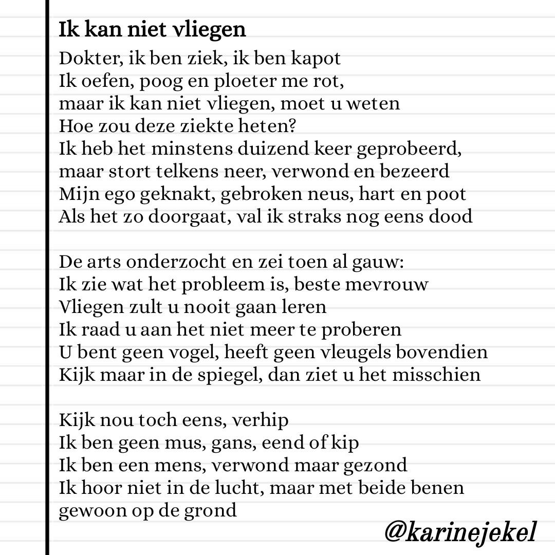 Gedicht Ik kan niet vliegen karinedicht